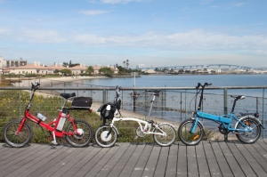 The Busettii, the E-Brompton and the e-Joe EPIK line-up at last weekend's Electric Bike Club of San Diego's Kilowatt Hour Group E-bike ride.
