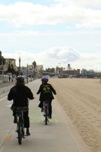 Riding the wide, smooth beach bike paths.
