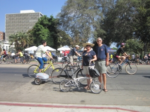 Last year at CicLAvia, Barbara rode the E-Brompton and I was on my vintage Oxhead with a Ridekick E-trailer to help.