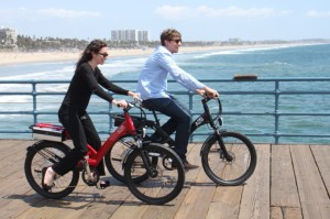 Zipping along the pier in Santa Monica, the Shima and Alva make a cute couple.